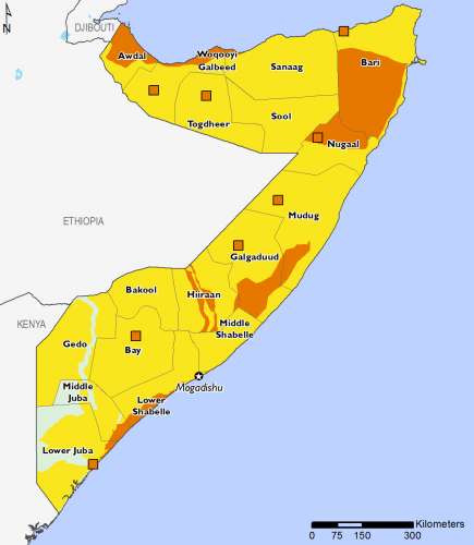 Somalia October 2016 Food Security Projections for October to January