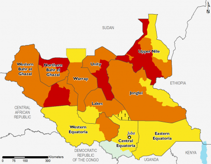 South Sudan July 2016 Food Security Projections for July to September
