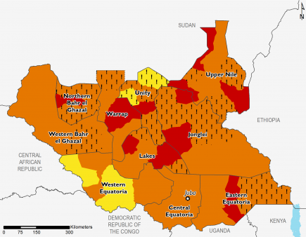 Map of South Sudan illustrating the projected food security outcomes from June to September 2019