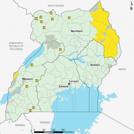 This map shows most of the country expected to be in Phase 1 (Minimal). The map shows Phase 2 (Stressed) outcomes expected in western Bundibugyo and in the Karamoja sub-region, in parts of Nakapiripirit, Napak, Moroto, Abim, Kotido, and Kaabong.  Refugee settlements in western Uganda are expected to be in Stressed! (IPC Phase 2!) in the presence of humanitarian assistance.