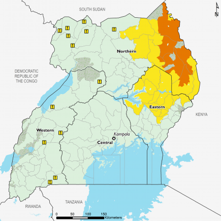 From August to September, Crisis (IPC Phase 3) is expected in Kotido, Kaabong, and Moroto districts in Karamoja. Stressed (IPC Phase 2) outcomes persist in remaining areas of Karamoja. Stressed is also expected in parts of Northern and Eastern regions.