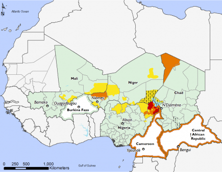Most of the region in Minimal (IPC Phase 1), Stressed (IPC Phase 2) in parts of Mali, Niger, and Nigeria, Stressed (IPC Phase 2!) in eastern Niger and northeast Nigeria, Crisis (IPC Phase 3) in Cameroon, CAR, northwest Chad, southwest Niger, Emergency (IPC Phase 4) in northeast Nigeria
