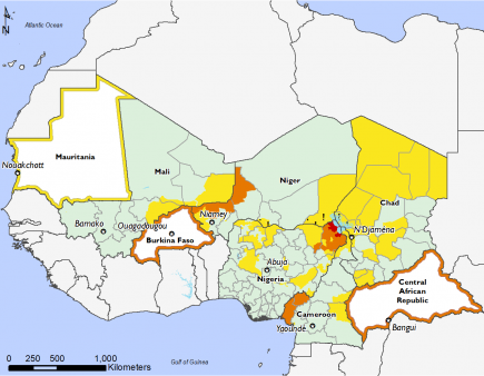Estimated most likely food security outcomes, October 2020 to January 2021: Crisis (IPC Phase 3) in Niger, Burkina Faso, Chad, and CAR. Emergency (IPC Phase 4) in Northeastern Nigeria