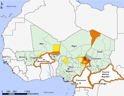 Maps of Most Probable Estimated Food Security Outcomes, October 2019 to January 2020 : Minimal (IPC Phase 1) in most of the region. Stress (Phase 2 of the CPI) in northern Nigeria. Crisis (Phase 3 of the CPI) in Tillaberi Niger, Tibesti Chad, Burkina Faso, Cameroon, and Central African Republic. Emergency (Phase 4 of the IPC) in northeastern Nigeria.