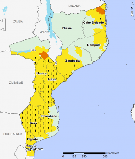 Map of projected food security outcomes for Mozambique from December 2019 to January 2020. Most of the southern and central regions are in Stressed (IPC Phase 2) or Stressed! (IPC Phase 2!). Northern areas of Cabo Delgado and Nampula are in Stressed with some areas in Cabo Delgado in Stressed! (IPC Phase 2!). Nangade and Mocimboa de Praia in Cabo Delgado and Moatize in Tete are facing Crisis (IPC Phase 3).
