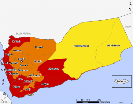 Yemen April 2016 Food Security Projections for June to September