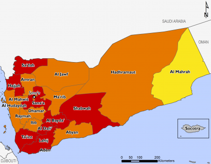 This is a map of projected food security outcomes in Yemen, for October 2018 to January 2019. Large areas of the country are expected to face Crisis (IPC Phase 3) outcomes. Given uncertainty with regard to assistance funding after November, no humanitaria