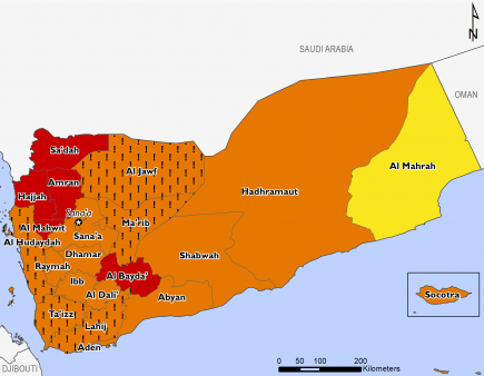 "This map of Yemen shows most of the country in Phase 3 (Crisis), with Sa'dah, Hajjah, Amran, Al Mahwit, and Al Bayda in Phase 4 (Emergency) and Al Mahrah in Phase 2 (Stressed). Many western governorates in Crisis are mapped with ""!""s, indicating that outcomes would likely be at least one phase worse in the absence of humanitarian assistance."