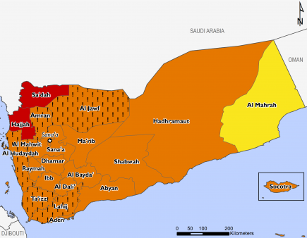 Projected food security outcomes, October 2019 to January 2020  This map shows most of the country in Phase 3 Crisis, with the exception of Sa'dah and Hajjah in Phase 4 Emergency and Al Maharah in Phase 2 Stressed. Many western governorates are in Phase 3