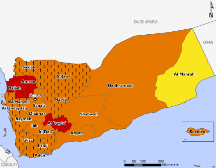 "This map of Yemen shows most of the country in Phase 3 (Crisis), with Hajjah, Amran, and Al Bayda in Phase 4 (Emergency) and Al Mahrah in Phase 2 (Stressed). Many western governorates in Crisis are mapped with ""!""s, indicating that outcomes would likely be at least one phase worse in the absence of humanitarian assistance."