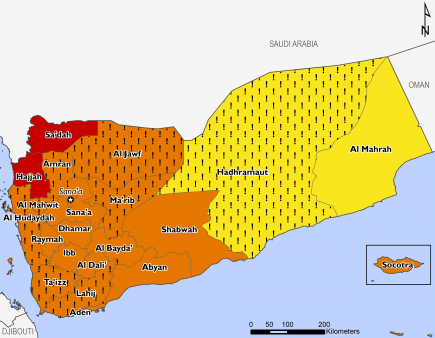 "This map of Yemen shows most of the country in Phase 3 (Crisis), with the exception of Sa'dah and Hajjah in Phase 4 (Emergency) and Hadhramaut and Al Mahrah in Phase 2 (Stressed). Hadhramaut and many western governorates in Crisis are mapped with ""!""s, indicating that outcomes would likely be at least one phase worse in the absence of humanitarian assistance."