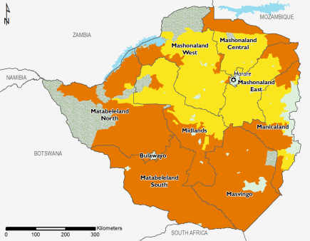 Zimbabwe February 2016 Food Security Projections for June to September
