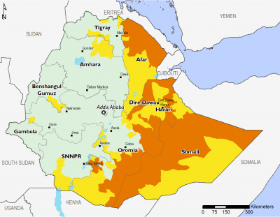 Map of Projected food security outcomes, October 2017 to January 2020: Minimal (IPC Phase 1) in most of the west of Ethiopia; Stressed (IPC Phase 2) in parts of Afar, Tigray, Oromia, SNNPR, and Somali; Crisis (IPC Phase 3) in parts of Somali, Oromia, Afar, Tigray, Amhara, Dire Dawa, and SNNPR