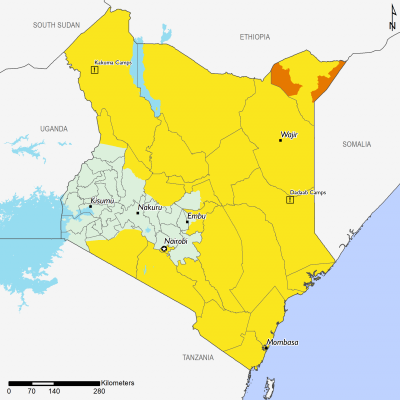 Projected food security outcomes, June - September 2020. Northeastern, northern, and eastern Kenya are Stressed (IPC Phase 2). Mandera West, Mandera East, and parts of Lafey are in Crisis (IPC Phase 3).