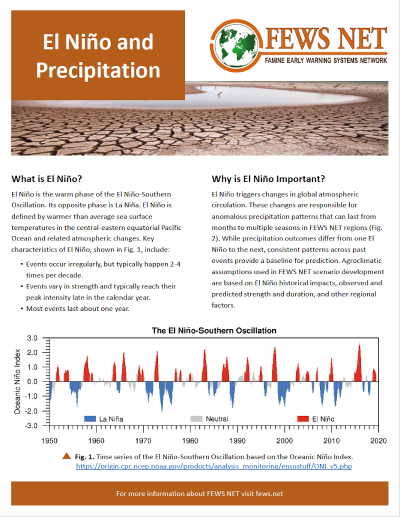 FEWS NET El Nino and Precipitation Fact Sheet cover linking to the fact sheet document
