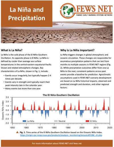 FEWS NET La Niña and Precipitation Fact Sheet cover linking to the fact sheet document