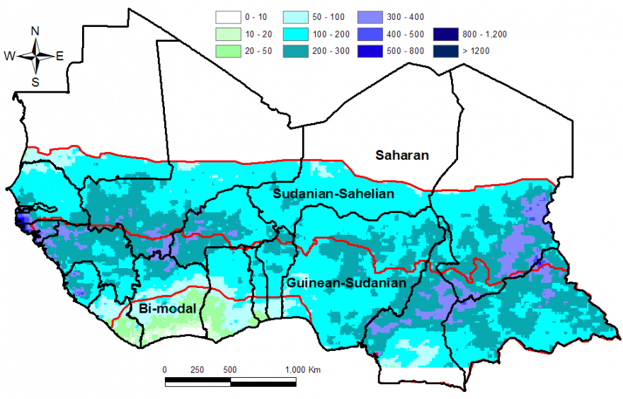 Figure 1. Total rainfall estimate (RFE) in mm, month of August 2014