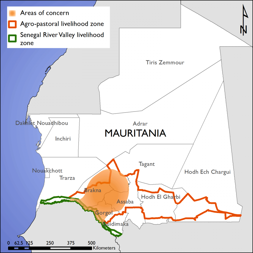 Figure 1. Areas of south-central Mauritania worst affected by poor rainfall in the main cultivation season