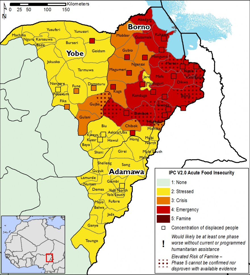 Projected food security outcomes for the northeast, October 2018 to January 2019 - Yobe and Adamawa are in phase 2, most of Borno is in phases 3 and 4, including IDPs. Some places indicate an elevated risk of famine.