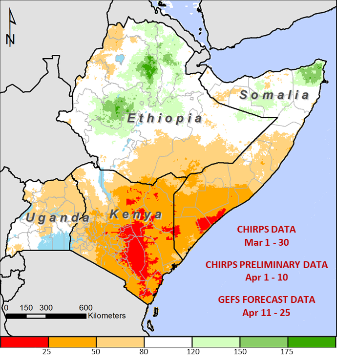 Rainfall is less than 25 percent of normal in south-eastern and central Kenya and in the Shabelle regions of Somalia. Rainfall is less than 50 percent of normal in southern Somalia and most of Kenya, and less than 80 percent of normal in Uganda.