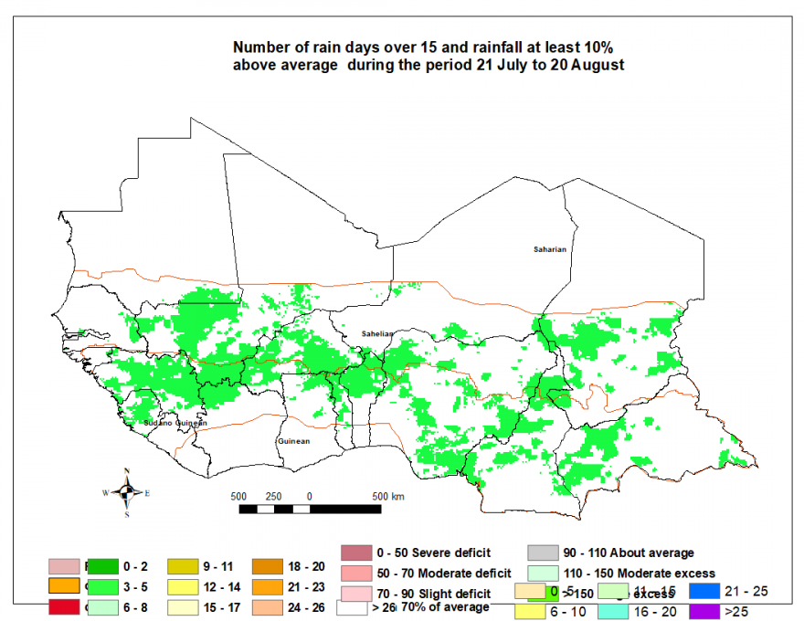 Total rainfall estimate (RFE) 10% over average and more than 15 rainy days, 3nd dekad of July to 2nd dekad of August. Mostly above average rainfall across the West Africa region.