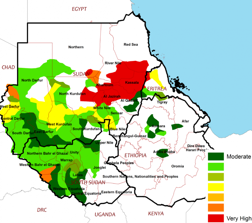 The map displays the flood risk over Sudan, South Sudan, and Ethiopia. Wide areas of western South Sudan and southern Sudan are at moderate to very high risk of floods through September. Some areas of northern Ethiopia have a moderate risk of flooding.