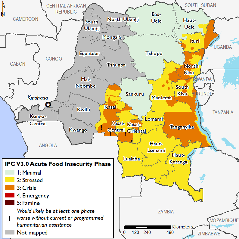 Map of Current food security outcomes, February 2019 : Minimal (IPC Phase 1) in north-central, Stress (IPC Phase 2) in southeastern and south-central parts, Crisis (IPC Phase 3) in eastern, northeastern and south-central parts, Crisis (Phase 3!) in parts