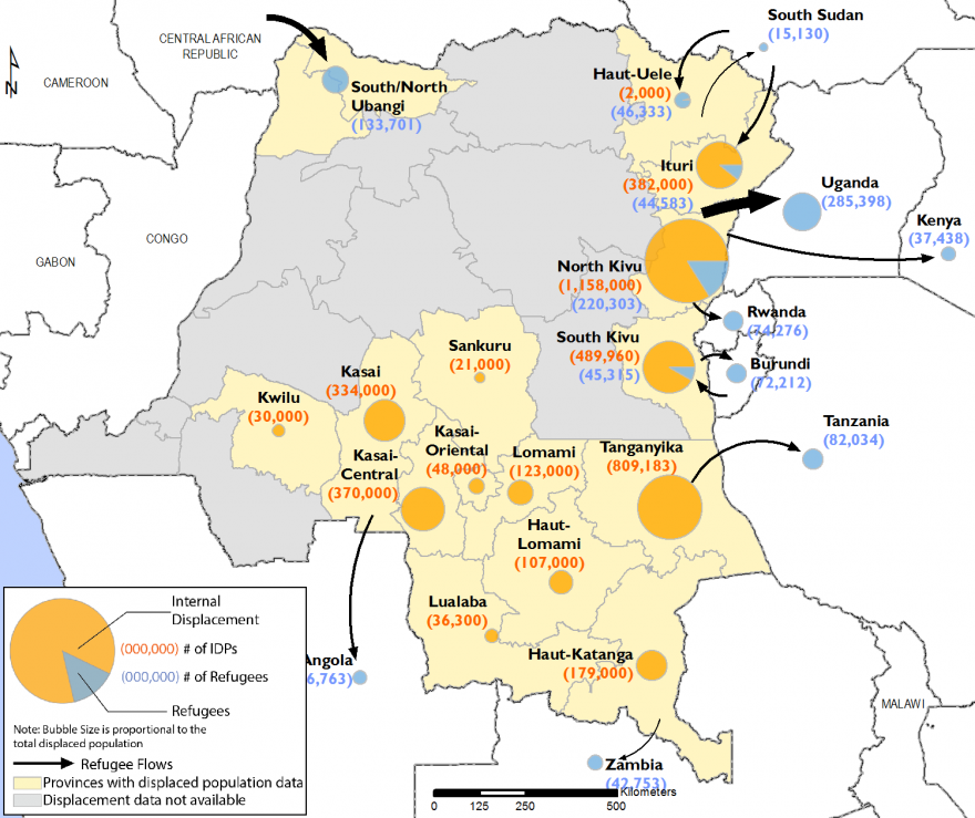Map showing internal displacement and refugees in DRC. Locations with greatest total number of displaced persons are the Kasai region, Tanganyika, and North and South Kivu.