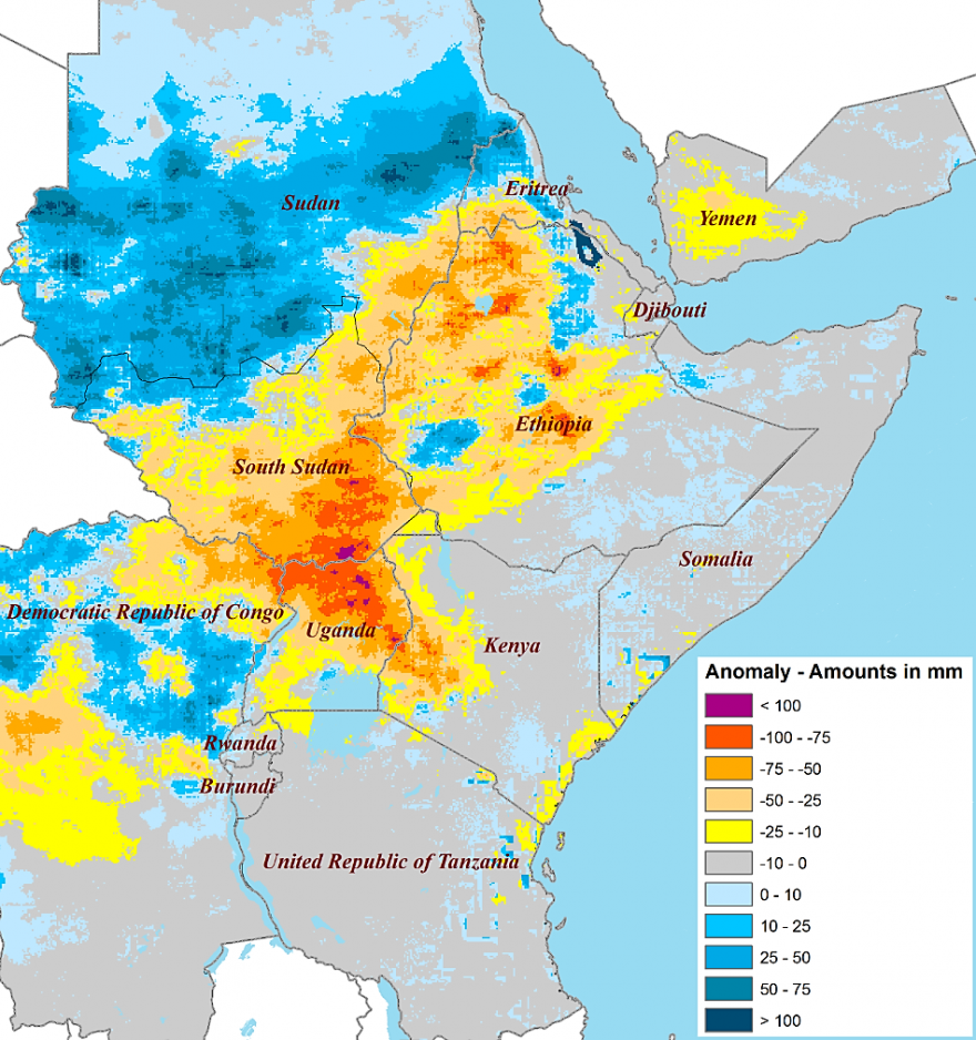 Between July 10 to August 10, large areas of Sudan received above-average rainfall but seasonal deficits have emerged in parts of Ethiopia, South Sudan, and northern Uganda.