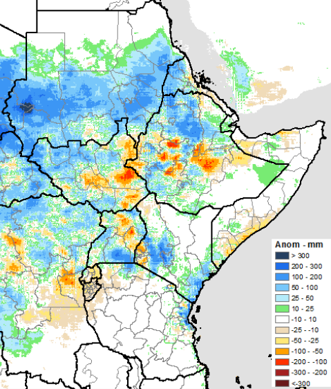 The graphic depicts the June to September rainfall season, which was characterized by well above-average rainfall amounts in Sudan, as well as heavy rainfall in northern areas of South Sudan and Ethiopia, southwestern Kenya, and southern Uganda.