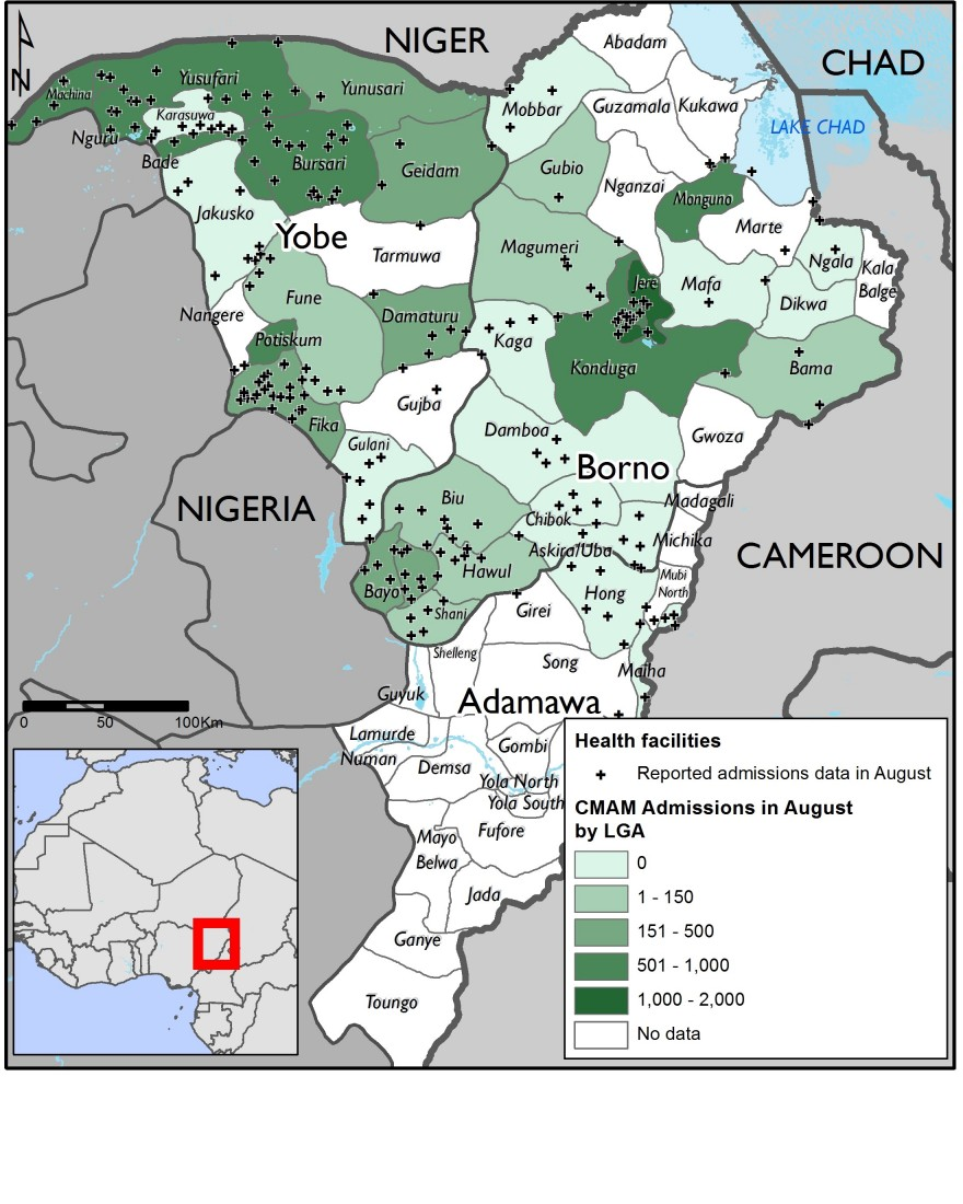 Figure 2. Therapeutic feeding program sites in Borno, Yobe, and Adamawa state
