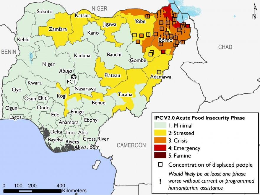 Most of the country is in IPC Phase 1, Minimal. Isolated areas of central and northern Nigeria are in IPC Phase 2, Stressed. Most of northeast Nigeria is in IPC Phase 3, Crisis, or IPC Phase 4, Emergency.