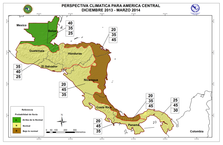 Climate Outlook Forecast Central America for December 2013 – March 2014