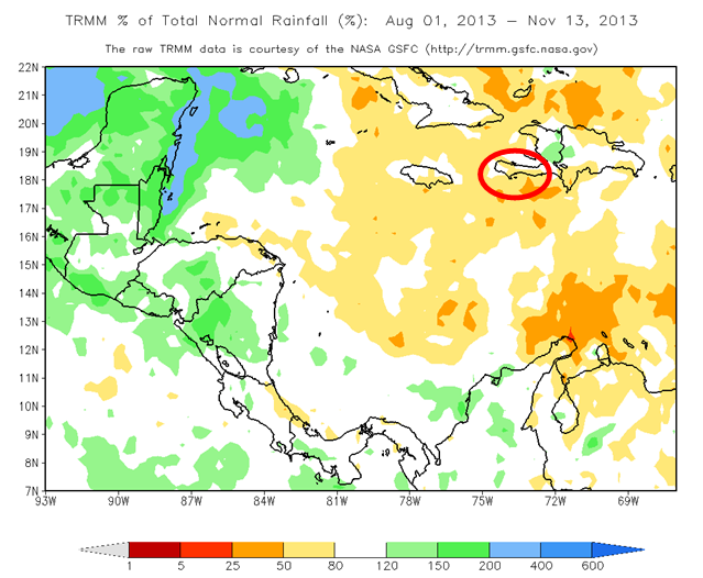 Total Rainfall Anomaly in Percent (%) (August 1 to  November 13, 2013)