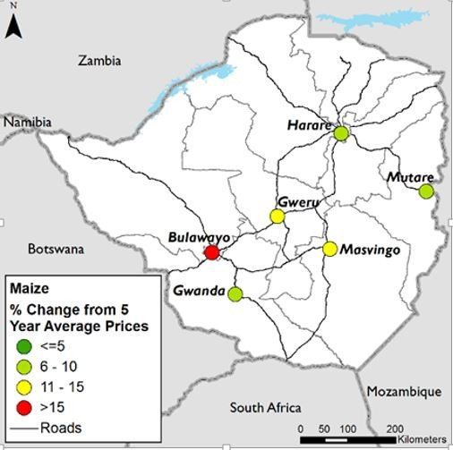 Figure 2. Maize price changes, September 2016.