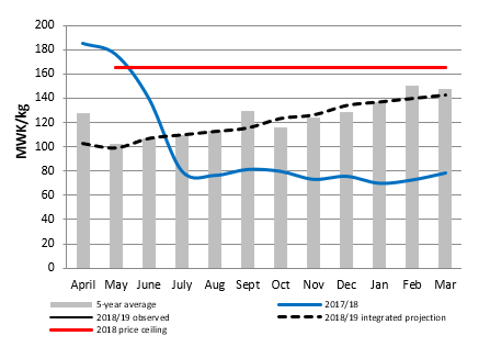 Figure 1. Mitundu, Malawi Maize Grain prices and projections (MWK/kg)