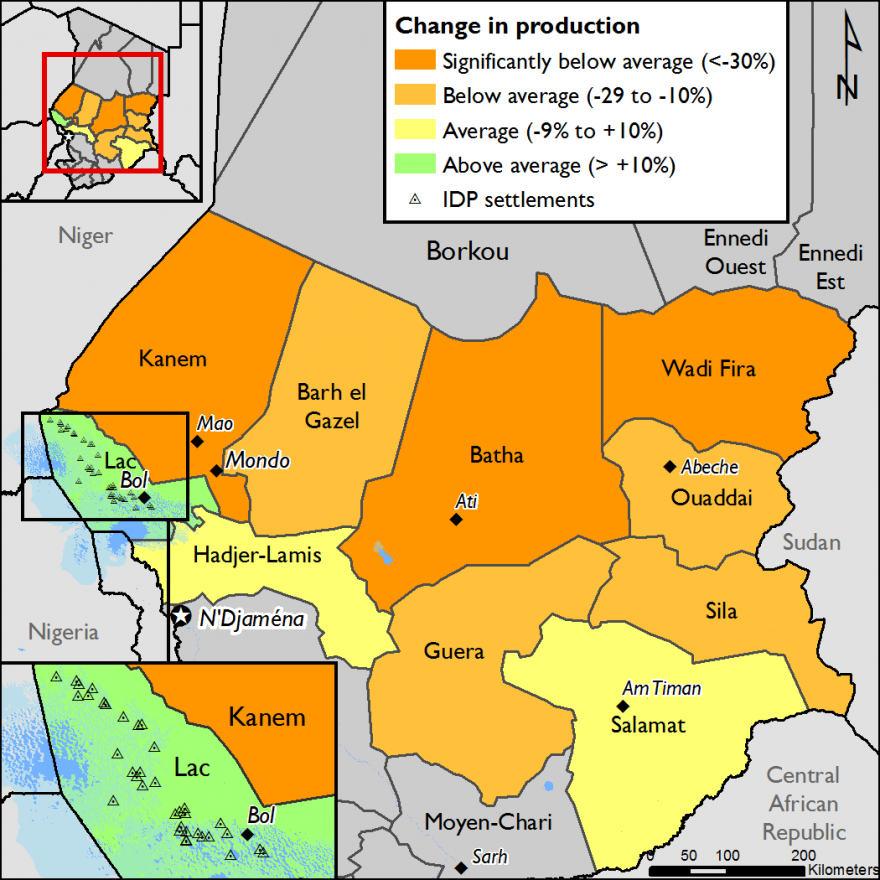 Figure 1. 2015/16 agricultural production compared to the 2010-2014 average; IDP settlements in the Lac Region