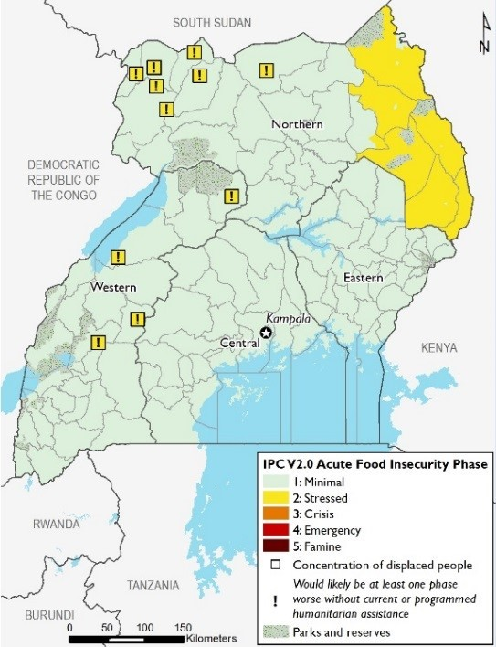 Map depicts current food security outcomes. In June all areas are Minimal (IPC Phase 1) except Karamoja, which is Stressed (IPC Phase 2). Refugee populations are Stressed (IPC Phase 2!) with humanitarian assistance preventing more severe outcomes