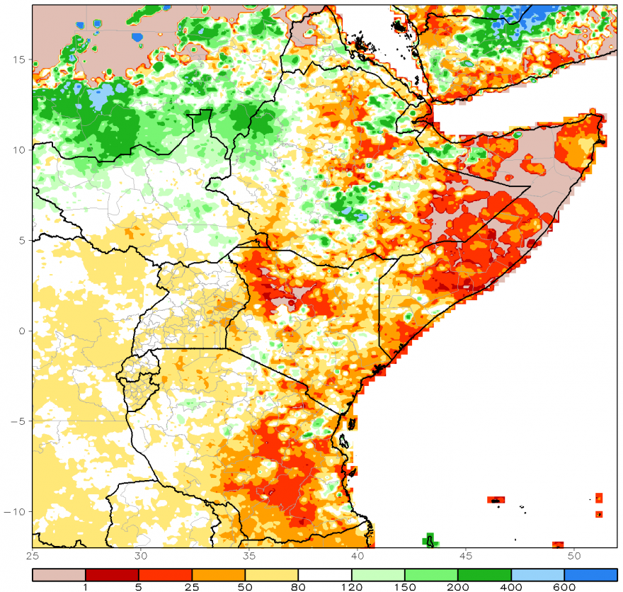 Figure 1. ARC2 estimated rainfall anomaly, percent of normal (1983-2009),  October 1- December 31, 2016