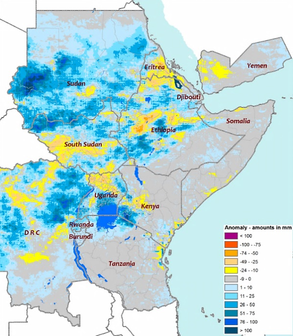The map shows there was above-average rainfall during August in Sudan and other parts of the region, while some areas in Ethiopia, South Sudan, northwestern Uganda, and northeastern DRC experienced rainfall deficits.
