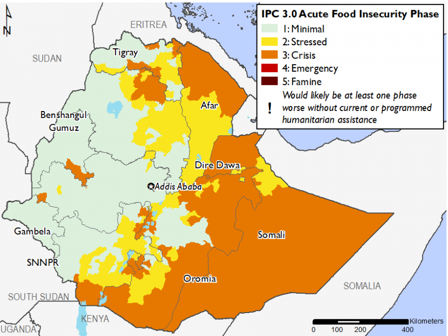 Map of Current food security outcomes, June 2019: Minimal (IPC Phase 1) in most of the west of Ethiopia; Stressed (IPC Phase 2) in parts of Afar, Tigray, Oromia, SNNPR, and Somali; Crisis (IPC Phase 3) in parts of Somali, Oromia, Afar, Tigray, Amhara, Dire Dawa, and SNNPR
