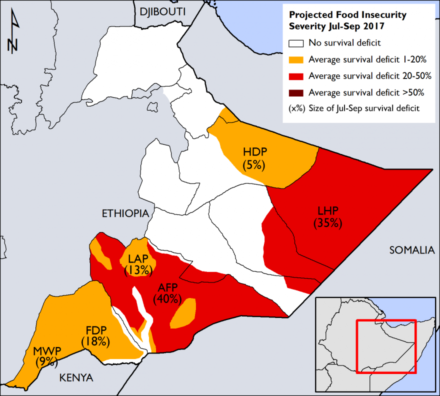 Figure 2. Estimated size of survival deficits for the poorest wealth group, by livelihood zone, during the July-September 2017 period
