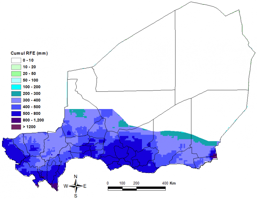 The south and central of the country had at least 300 mm of rainfall. Maradi, south Tahoua, south Dosso, and west Tillaberi had at least 500 mm.