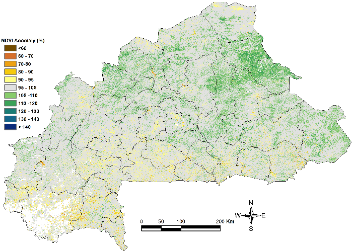 Figure 1: Map of NDVI anomalies (compared with the 2006 – 2015 average)