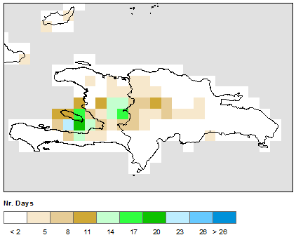 Figure 2. Number of Rain Days, April 10-May 10, 2015