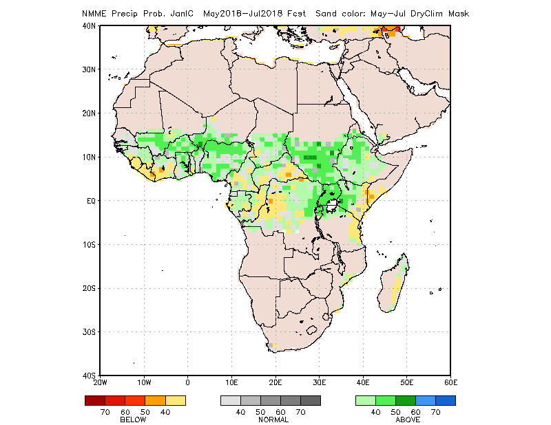 Figure 2. Rainfall forecast for May through July 2018