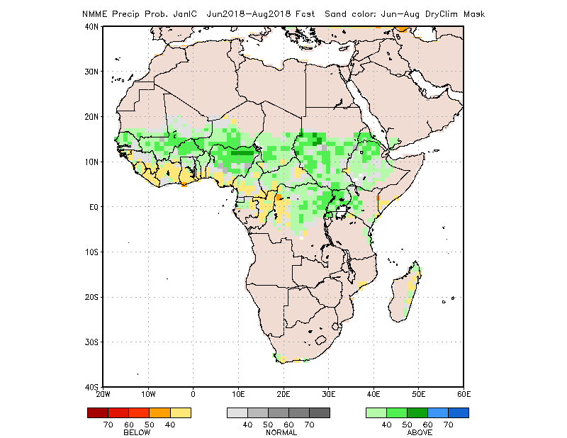 Figure 3. Rainfall forecast for June through August 2018