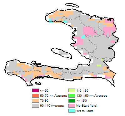 Figure 4. Water Resources Satisfaction Index (WRSI) Anomaly, May 1-10, 2015.