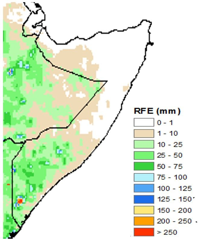 Map of estimated rainfall in mm from October 21 to 31. Northwest, northeast, and central regions generally received less than 10 mm or no rainfall at all. In the South, rainfall generally ranged from 10 to 75 mm.