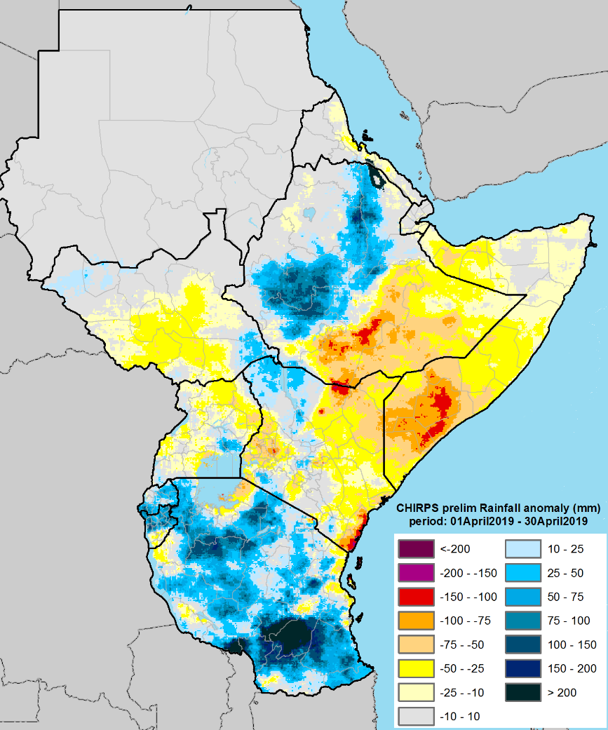 Map depicting anomalous rainfall in mm in comparison to the 1981-2010 average from April 1st to 31st. Rainfall was below-average in in Somalia, southeastern Kenya, Uganda, South Sudan, and eastern and southwestern Kenya. Rainfall was above-average in Rwanda, Tanzania, most of Burundi, and western and northern Ethiopia.